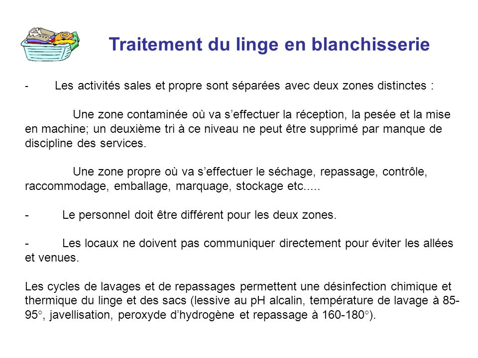 Traitement du linge en blanchisserie