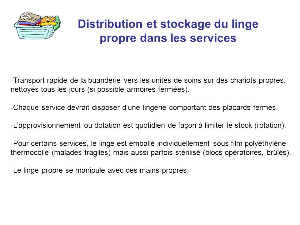 Distribution et stockage du linge propre dans les services