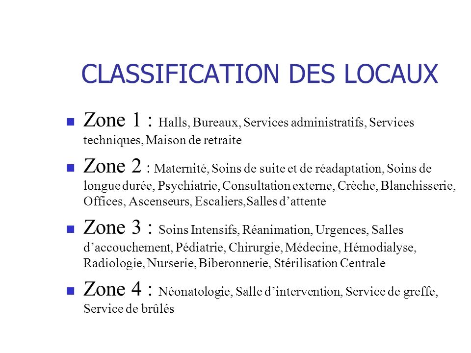 CLASSIFICATION DES LOCAUX