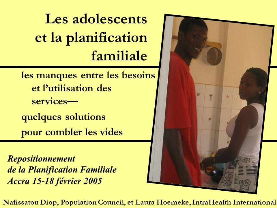Les adolescents et la planification familiale