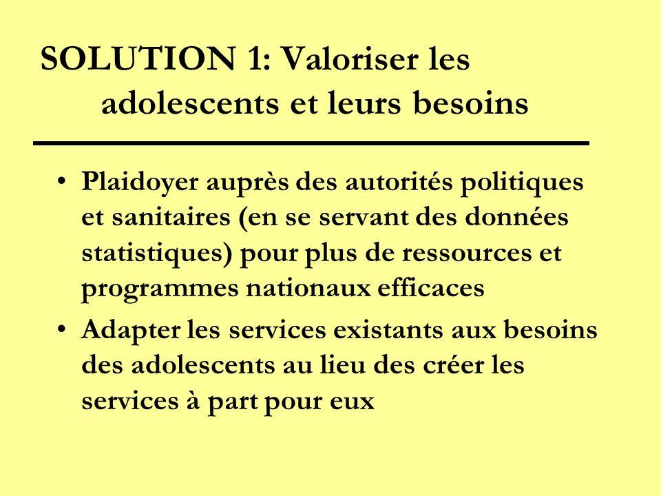 SOLUTION 1: Valoriser les adolescents et leurs besoins