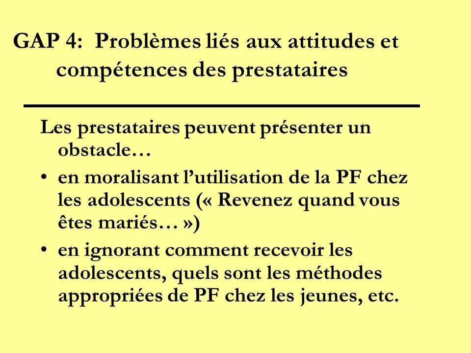 GAP 4: Problèmes liés aux attitudes et compétences des prestataires