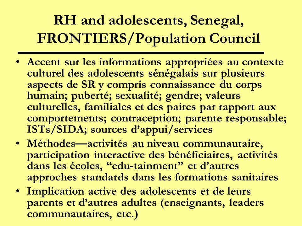 RH and adolescents, Senegal, FRONTIERS/Population Council