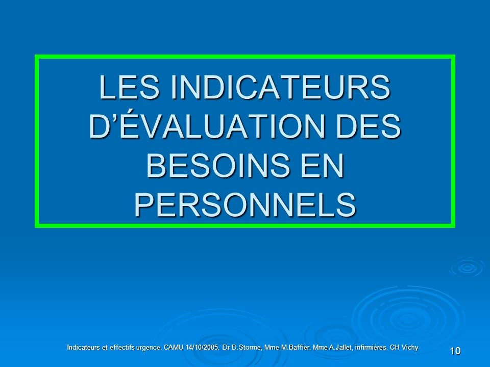 LES INDICATEURS D'ÉVALUATION DES BESOINS EN PERSONNELS