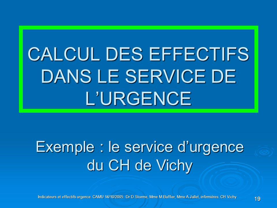 CALCUL DES EFFECTIFS DANS LE SERVICE DE L'URGENCE