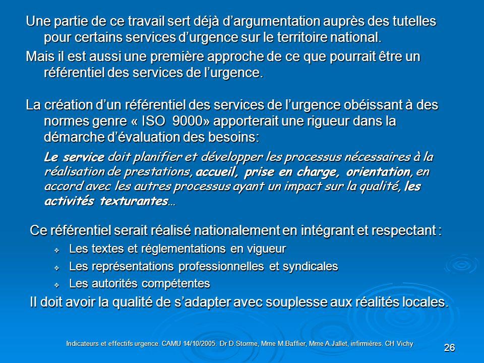 Une partie de ce travail sert déjà d'argumentation auprès des tutelles pour certains services d'urgence sur le territoire national.