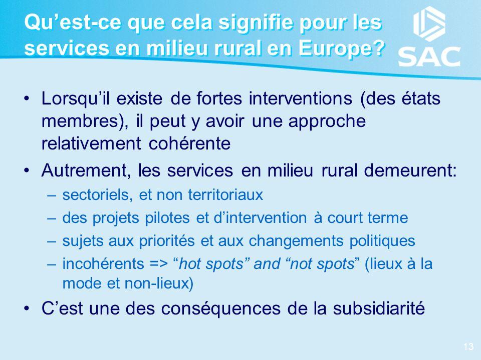Qu'est-ce que cela signifie pour les services en milieu rural en Europe