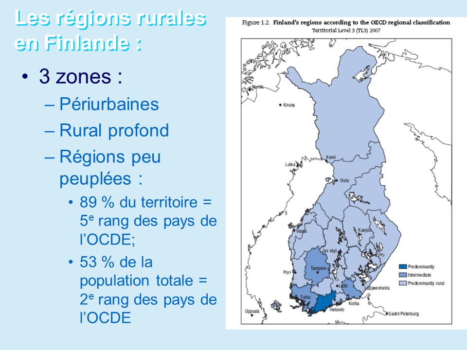 Les régions rurales en Finlande :