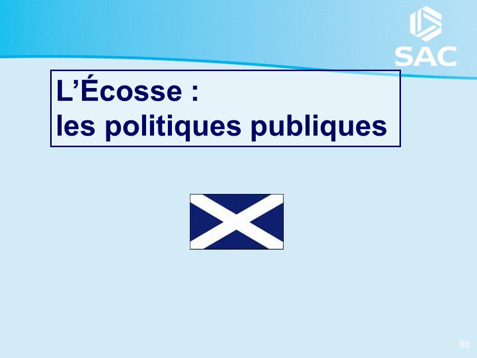 L'Écosse : les politiques publiques