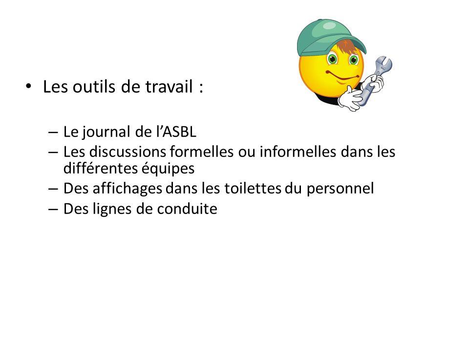 Les outils de travail : Le journal de l'ASBL