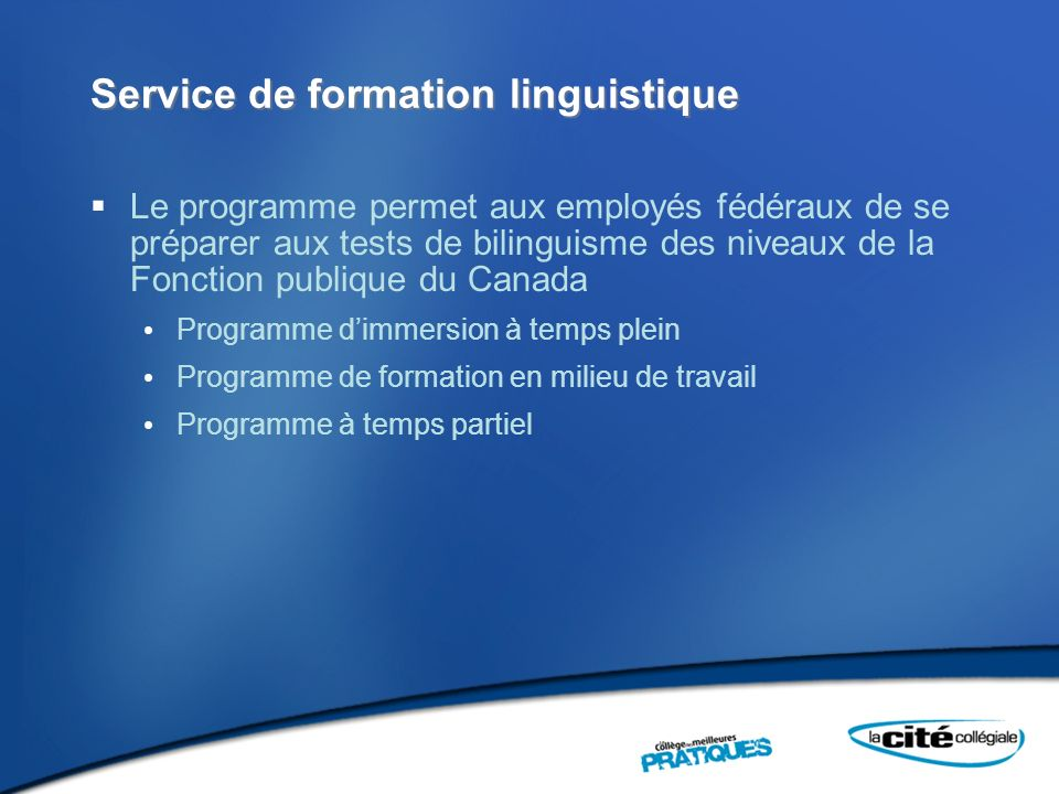 Service de formation linguistique
