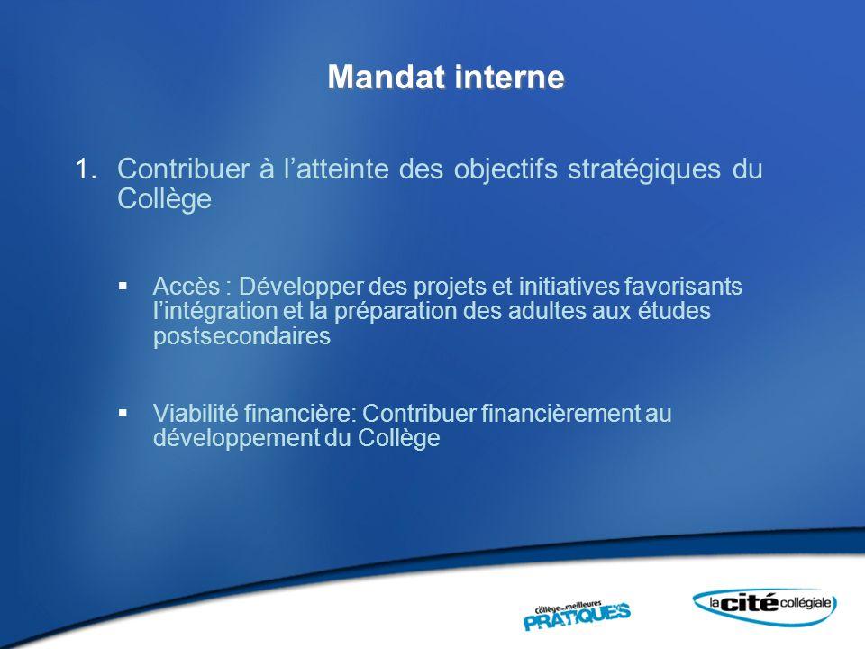 Mandat interne Contribuer à l'atteinte des objectifs stratégiques du Collège.
