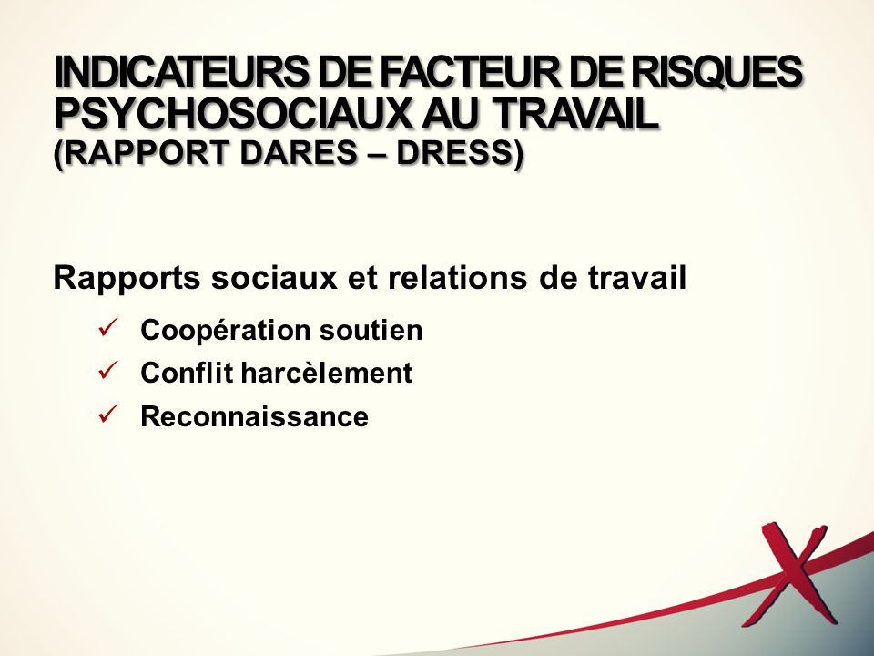 INDICATEURS DE FACTEUR DE RISQUES PSYCHOSOCIAUX AU TRAVAIL (RAPPORT DARES – DRESS)
