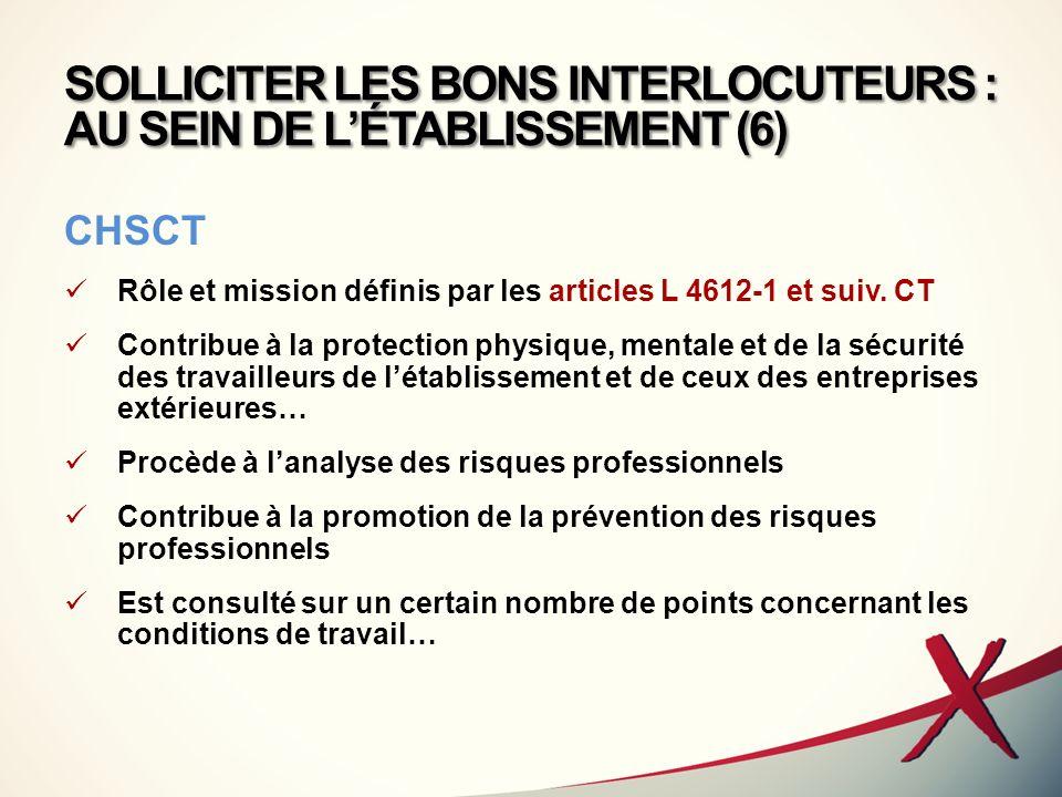 SOLLICITER LES BONS INTERLOCUTEURS : AU SEIN DE L'ÉTABLISSEMENT (6)