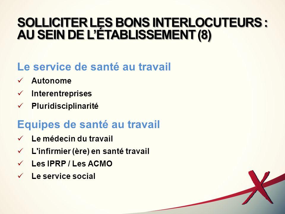 SOLLICITER LES BONS INTERLOCUTEURS : AU SEIN DE L'ÉTABLISSEMENT (8)