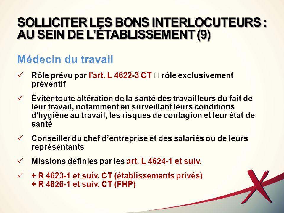 SOLLICITER LES BONS INTERLOCUTEURS : AU SEIN DE L'ÉTABLISSEMENT (9)