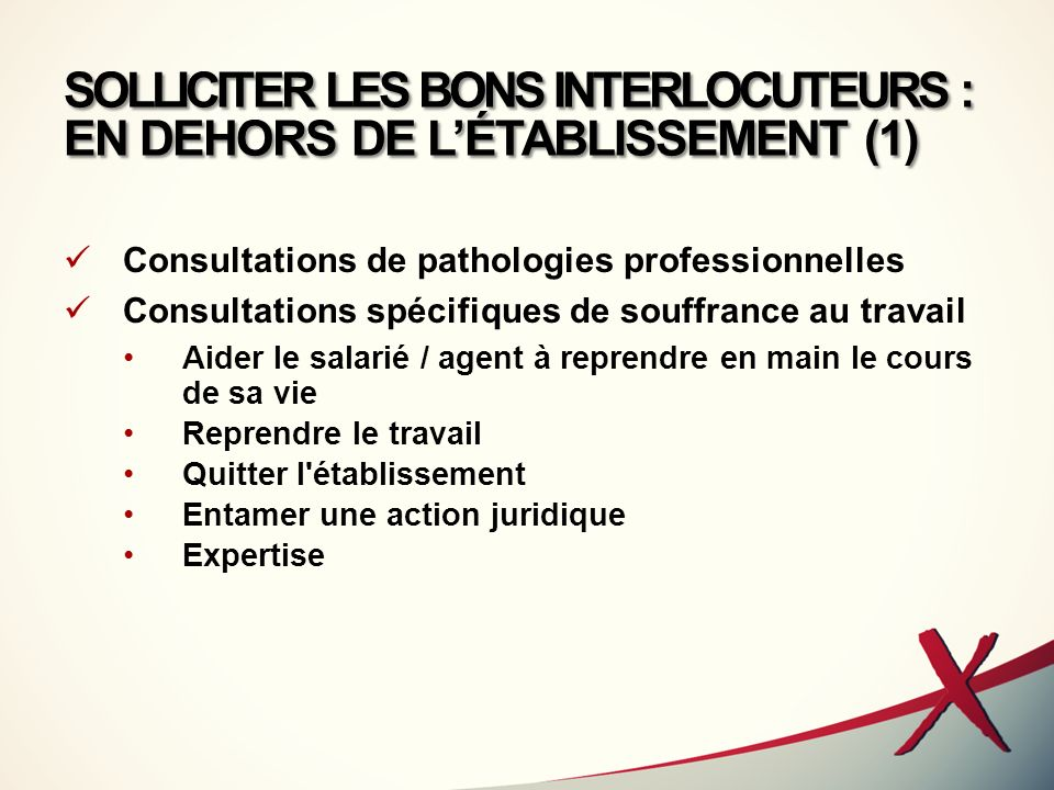 SOLLICITER LES BONS INTERLOCUTEURS : EN DEHORS DE L'ÉTABLISSEMENT (1)