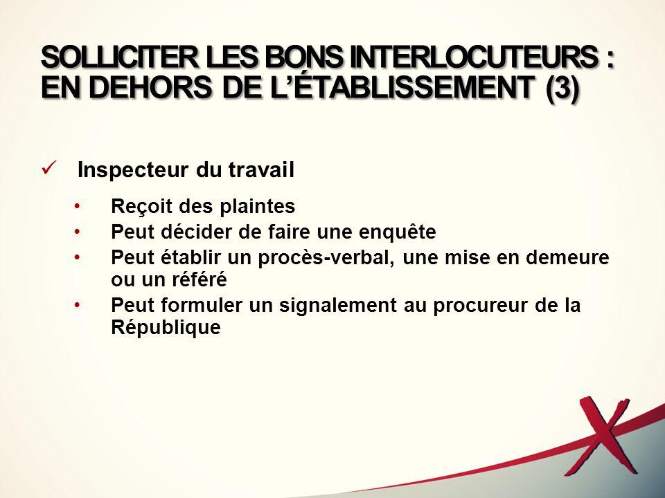 SOLLICITER LES BONS INTERLOCUTEURS : EN DEHORS DE L'ÉTABLISSEMENT (3)