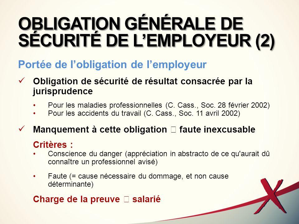 OBLIGATION GÉNÉRALE DE SÉCURITÉ DE L'EMPLOYEUR (2)