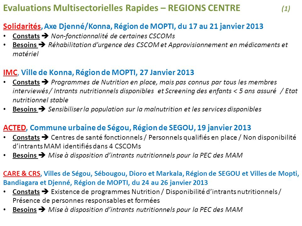 Evaluations Multisectorielles Rapides – REGIONS CENTRE (1)