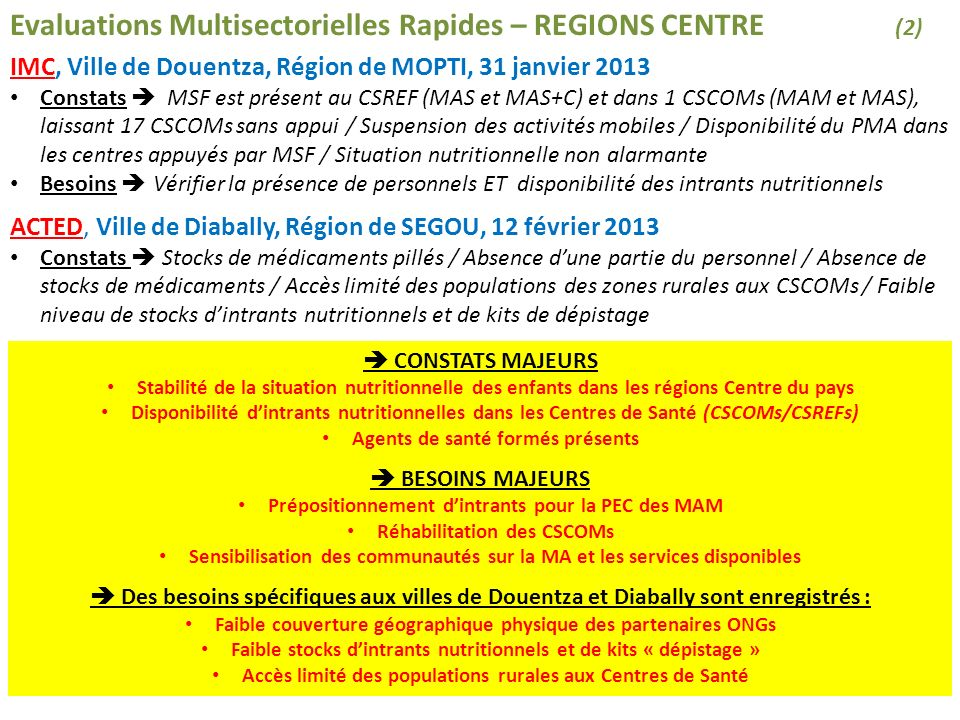 Evaluations Multisectorielles Rapides – REGIONS CENTRE (2)