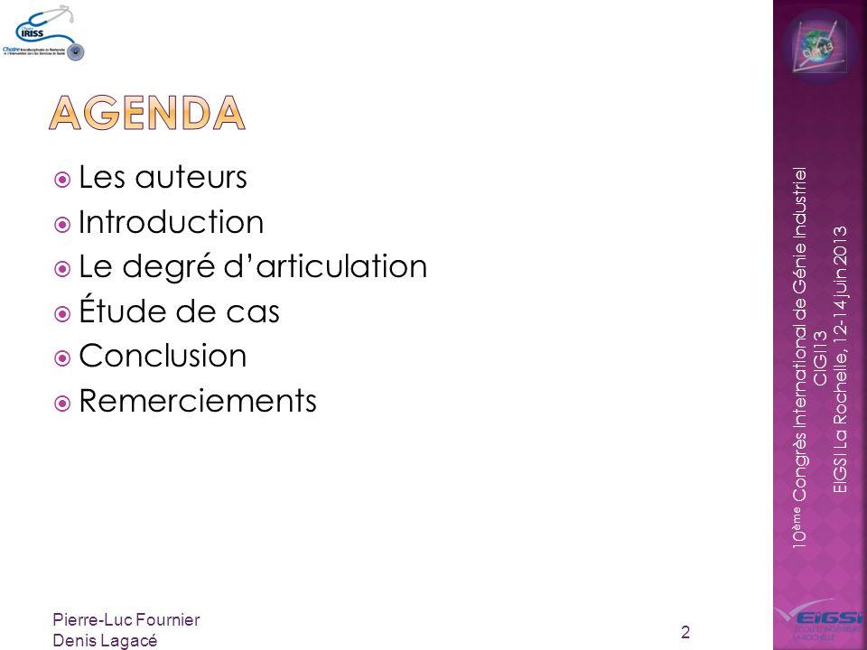 agenda Les auteurs Introduction Le degré d'articulation Étude de cas