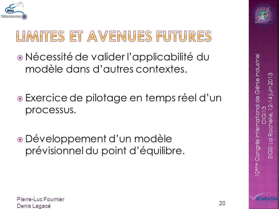 Limites et avenues futures