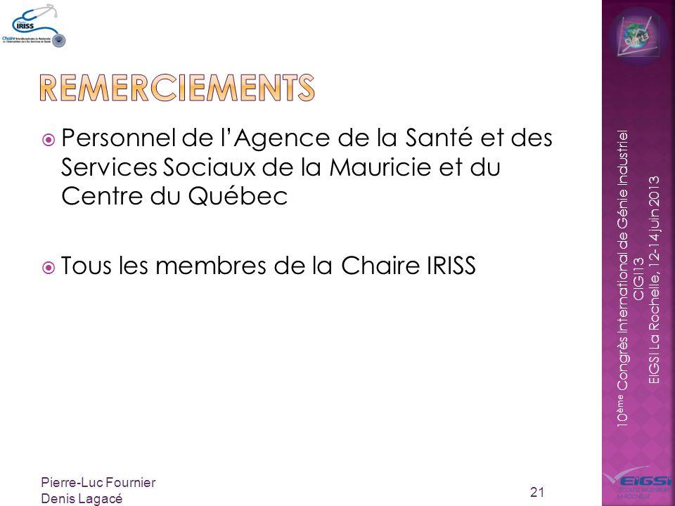 remerciements Personnel de l'Agence de la Santé et des Services Sociaux de la Mauricie et du Centre du Québec.