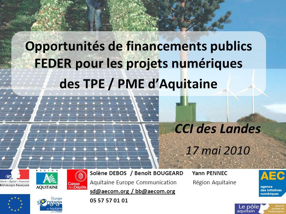 Opportunités de financements publics FEDER pour les projets numériques