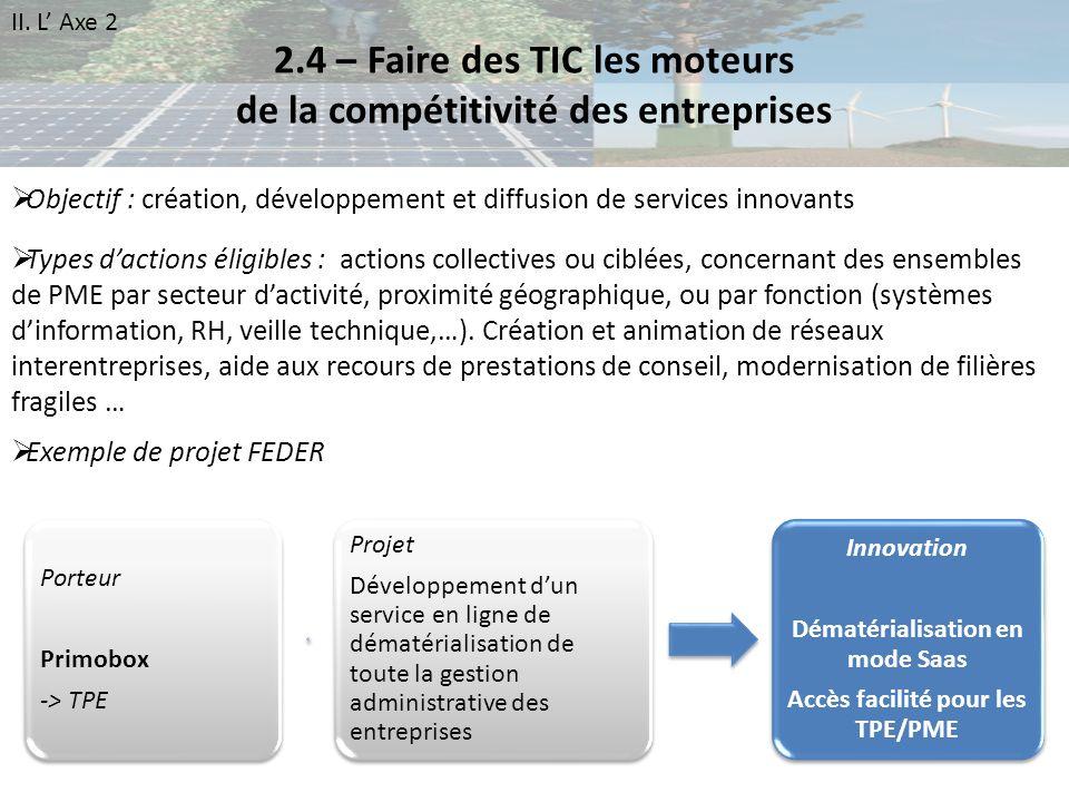 2.4 – Faire des TIC les moteurs de la compétitivité des entreprises