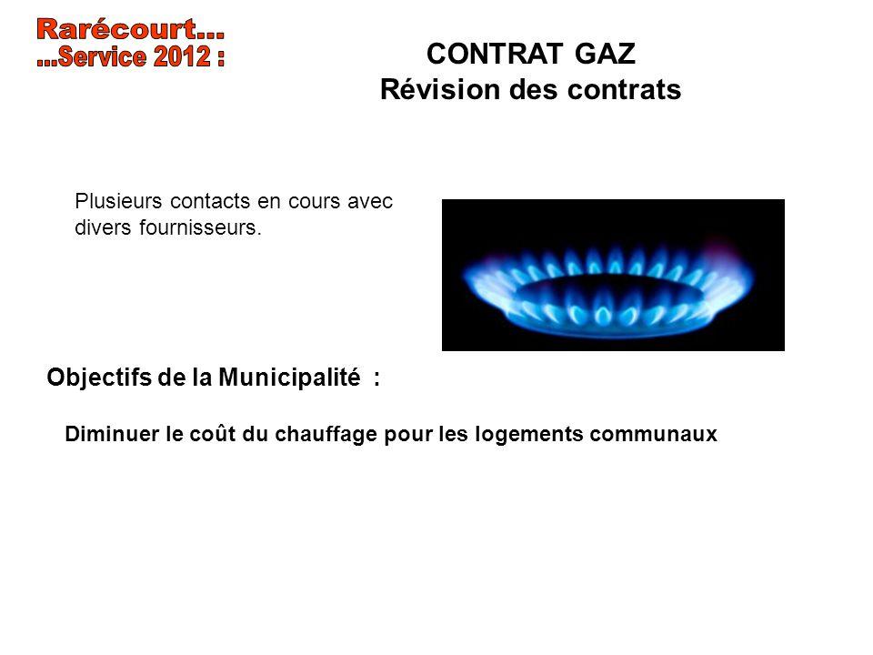 Rarécourt... ...Service 2012 : CONTRAT GAZ Révision des contrats