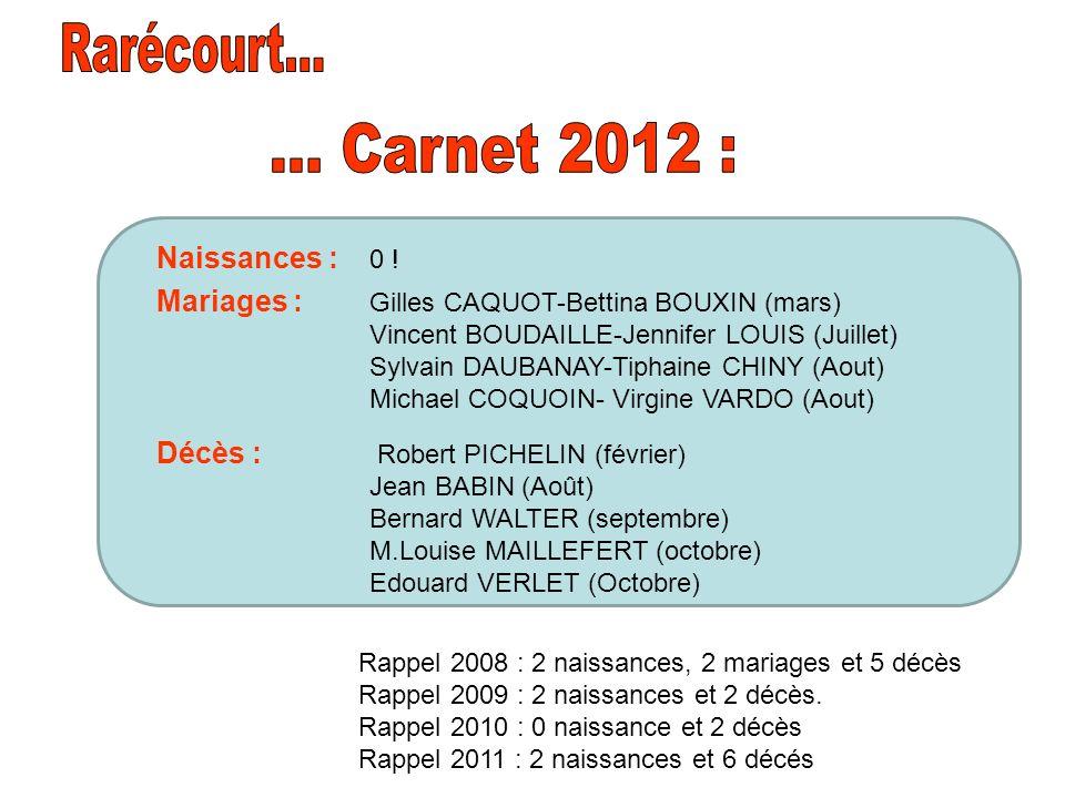 Rarécourt... ... Carnet 2012 : Naissances : 0 !