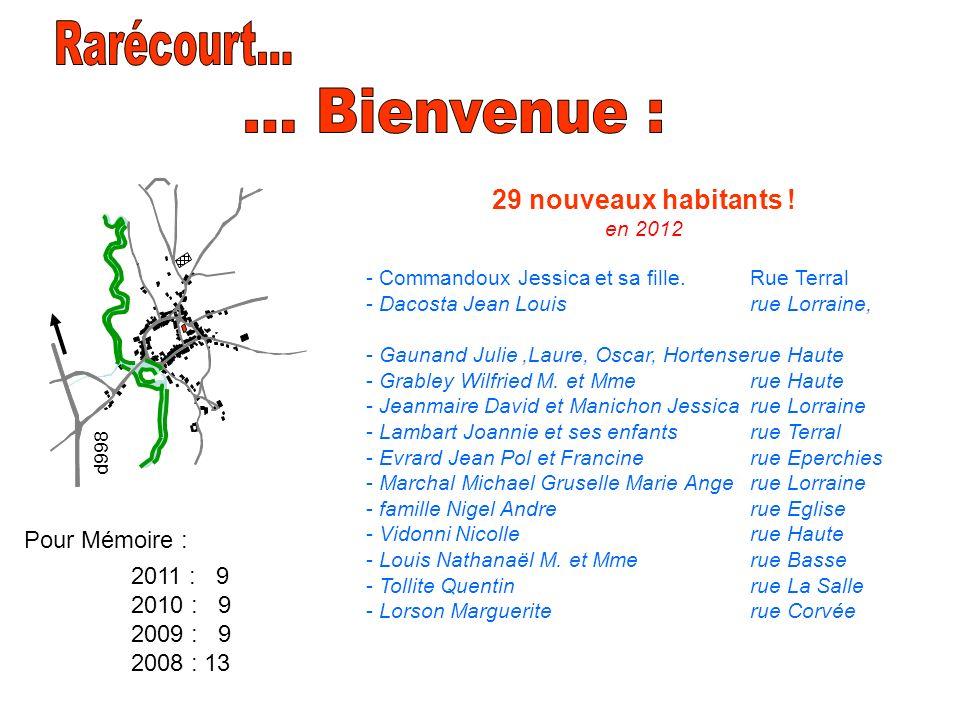 Rarécourt... ... Bienvenue : 29 nouveaux habitants ! en 2012