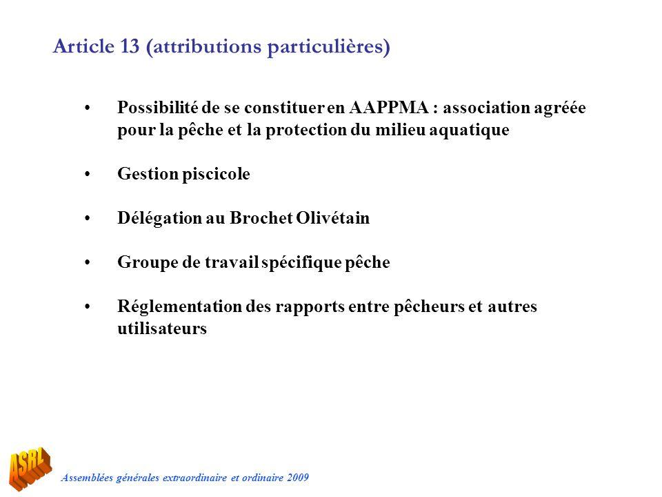 Article 13 (attributions particulières)