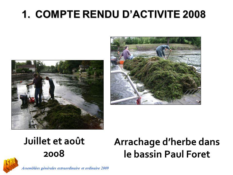 Arrachage d'herbe dans le bassin Paul Foret