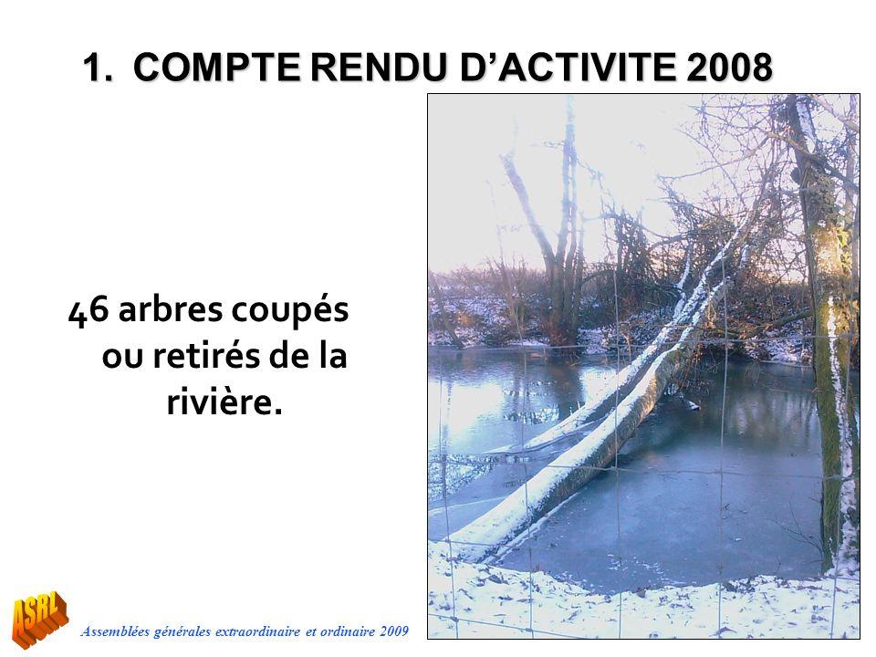 46 arbres coupés ou retirés de la rivière.