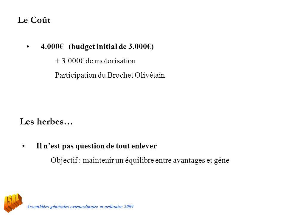 Le Coût Les herbes… 4.000€ (budget initial de 3.000€)
