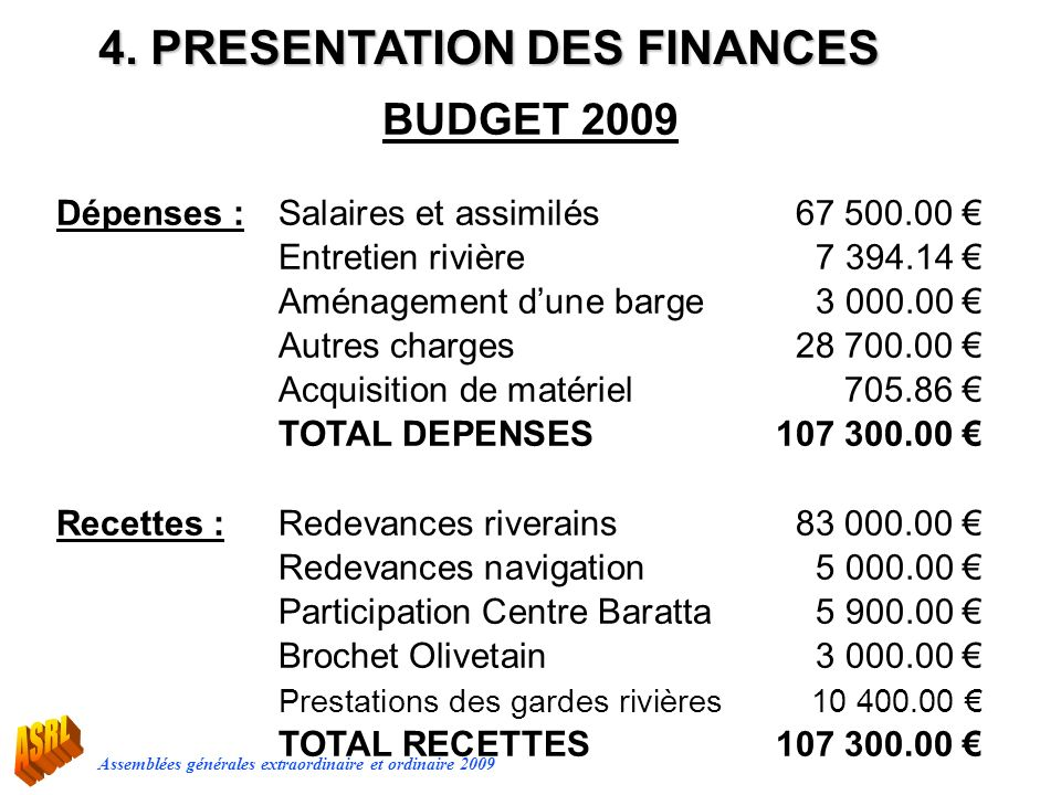 4. PRESENTATION DES FINANCES