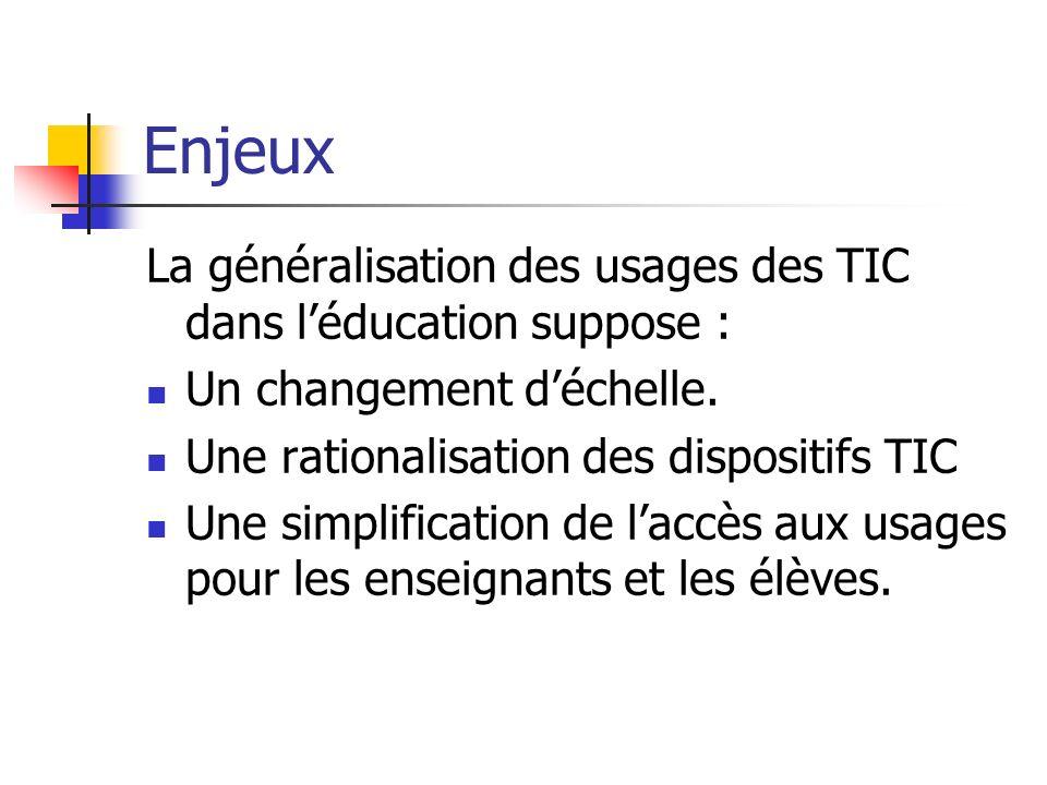 Enjeux La généralisation des usages des TIC dans l'éducation suppose :