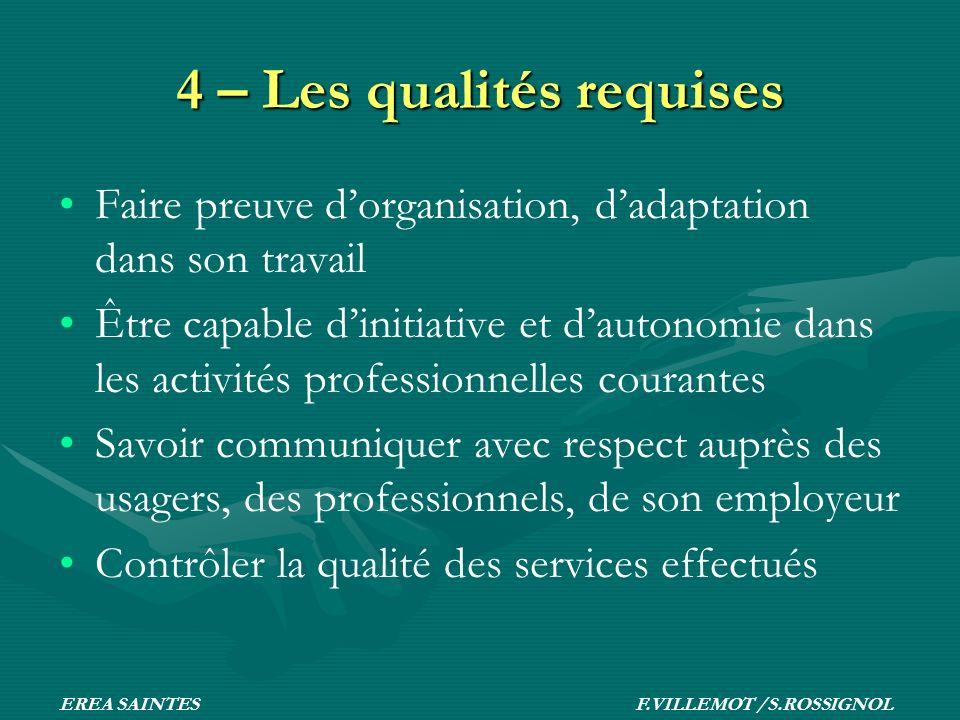 4 – Les qualités requises