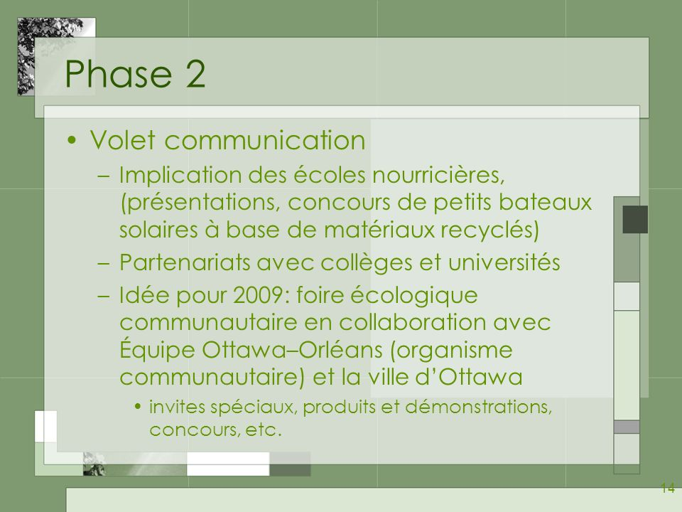 Phase 2 Volet communication