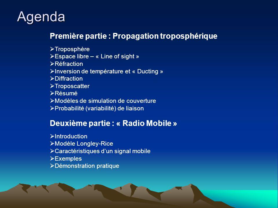 Agenda Première partie : Propagation troposphérique