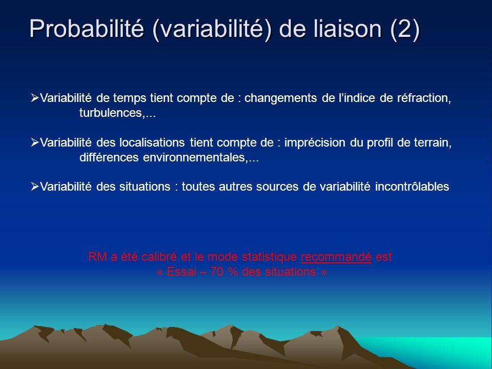 Probabilité (variabilité) de liaison (2)