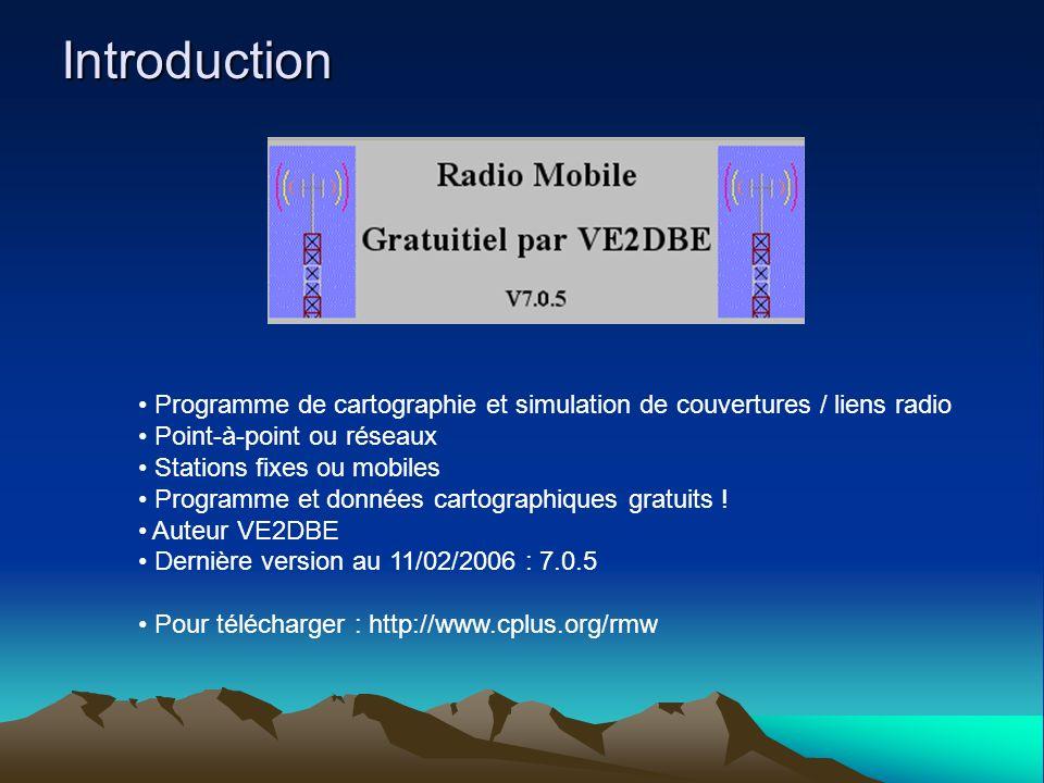 Introduction Programme de cartographie et simulation de couvertures / liens radio. Point-à-point ou réseaux.