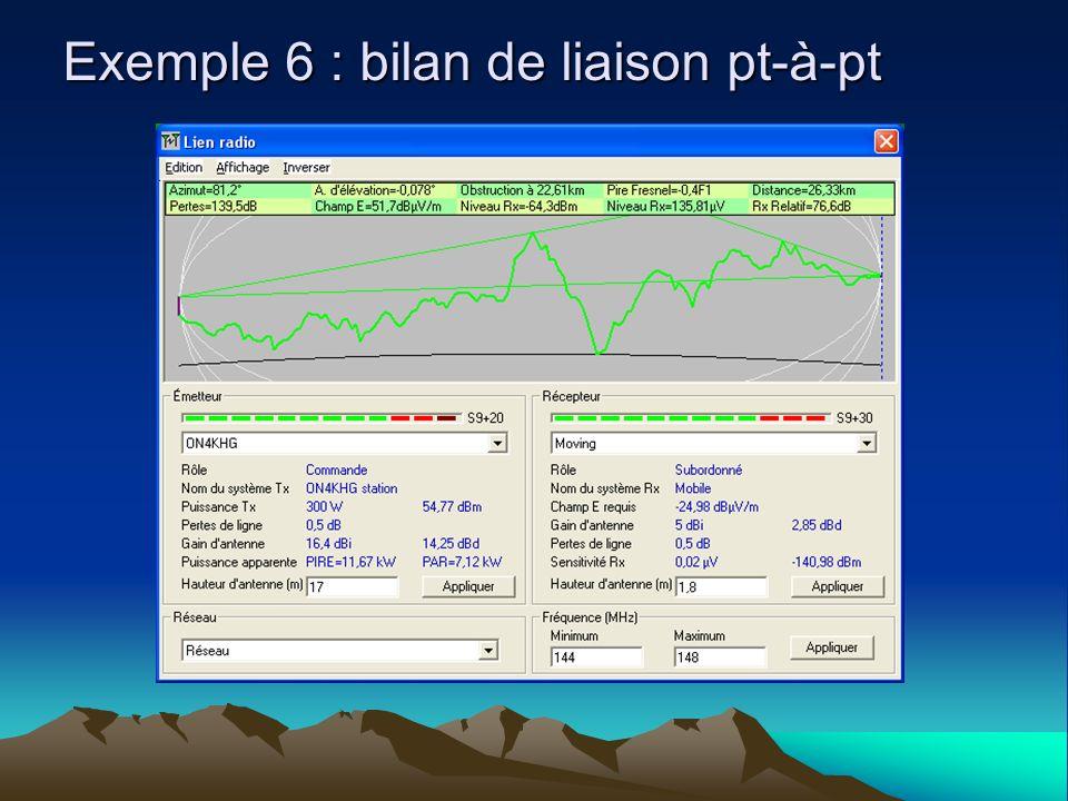 Exemple 6 : bilan de liaison pt-à-pt
