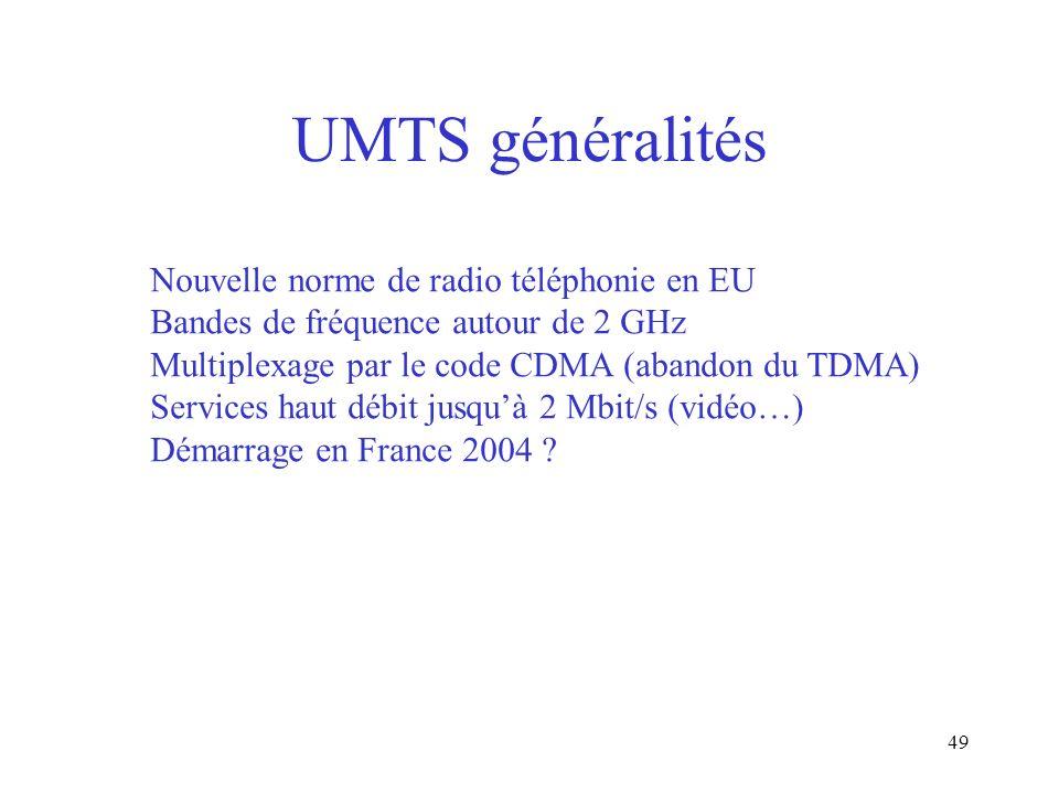 UMTS généralités Nouvelle norme de radio téléphonie en EU