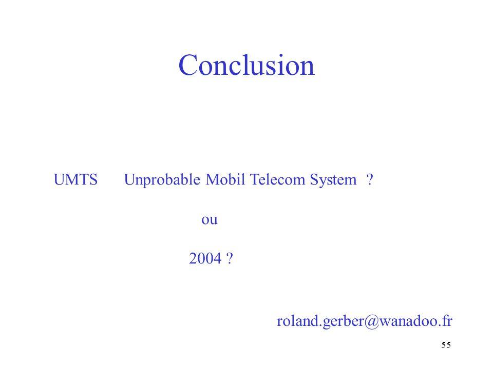 Conclusion UMTS Unprobable Mobil Telecom System ou 2004