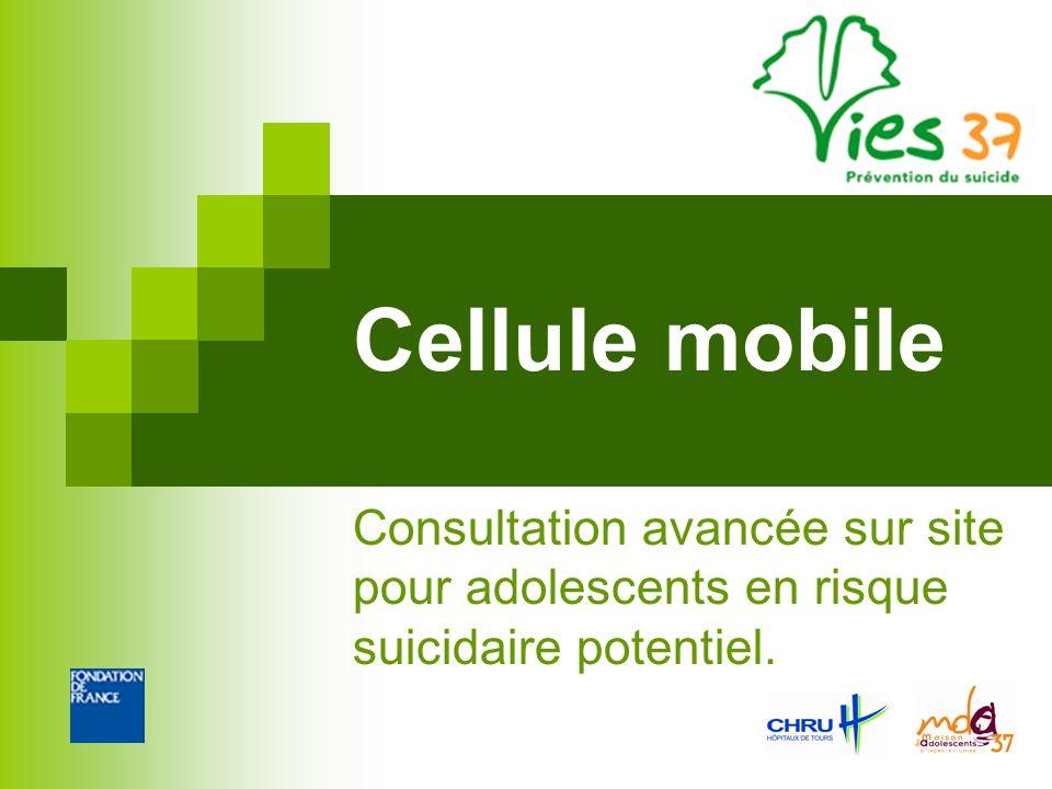 Cellule mobile Consultation avancée sur site pour adolescents en risque suicidaire potentiel.