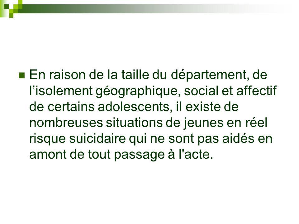 En raison de la taille du département, de l'isolement géographique, social et affectif de certains adolescents, il existe de nombreuses situations de jeunes en réel risque suicidaire qui ne sont pas aidés en amont de tout passage à l acte.
