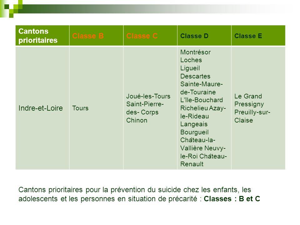 Cantons prioritaires Classe B Classe C Indre-et-Loire